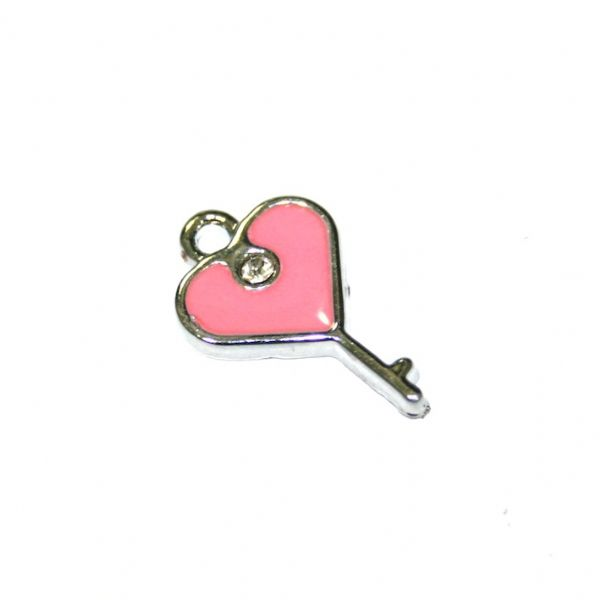 1pce x 19*14mm Rhodium plated pink lock key with heart enamel charm - SD03 - CHE1033